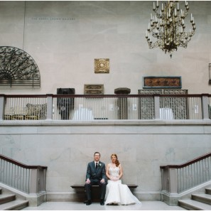 Wedding photographs on the Grand Staircase at the Art Institute of Chicago.