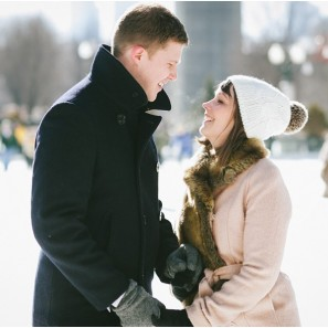Ice skating engagement photography in Chicago.
